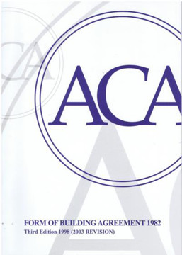 Picture of ACA Form of Building Agreement 1982, Third Edition 1998 (2003 Revision): 2003