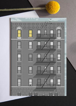 Picture of New York Apartment Block sunrise greeting card